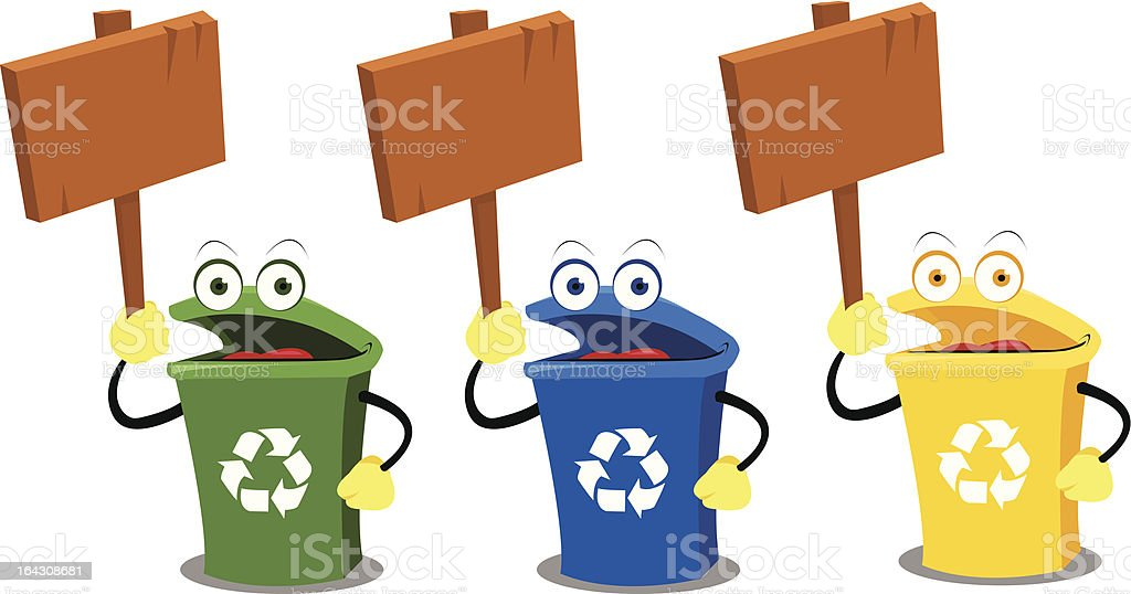 Funny Recycling Bins with Blank Signs vector art illustration