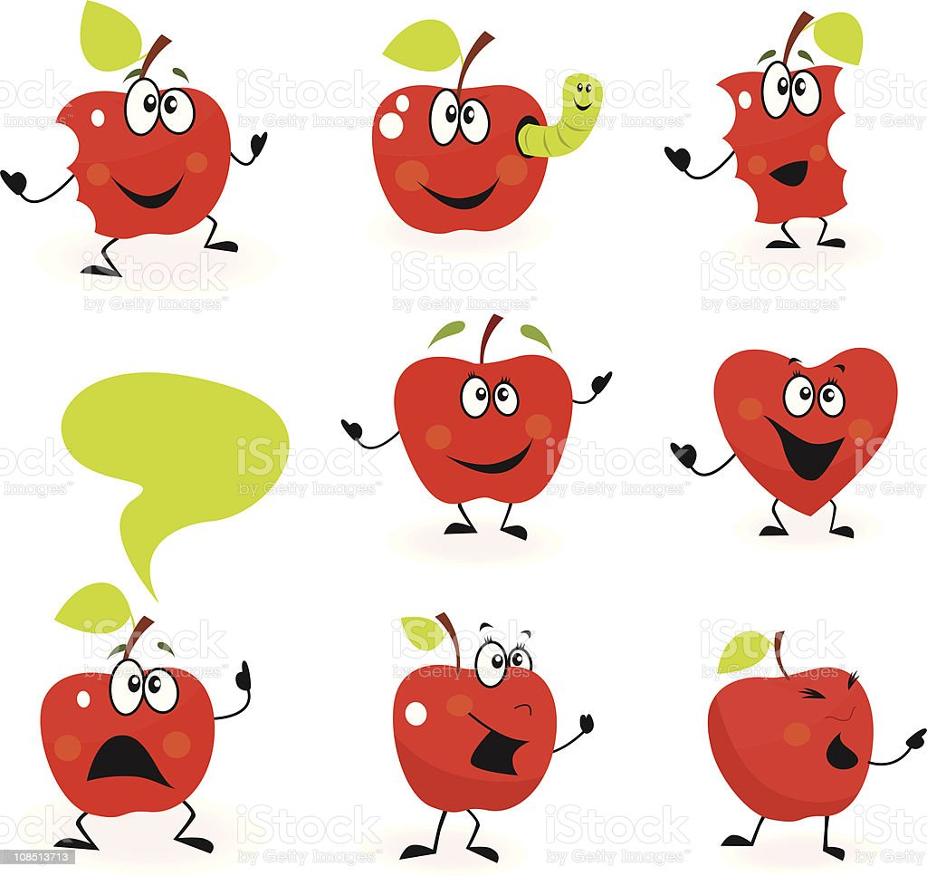 Funny red Apple fruit characters isolated on white background royalty-free stock vector art