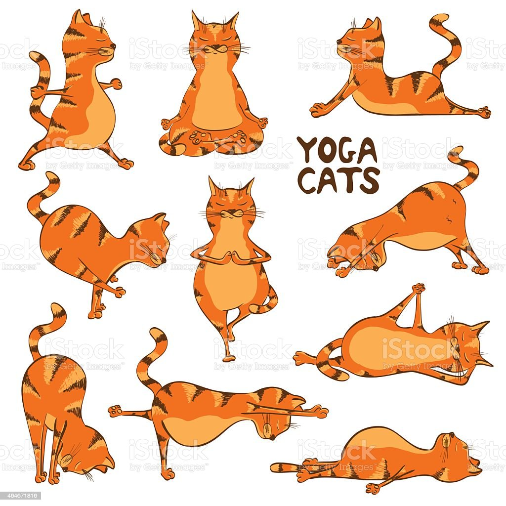Funny Red Cat Doing Yoga Position Stock Illustration ...