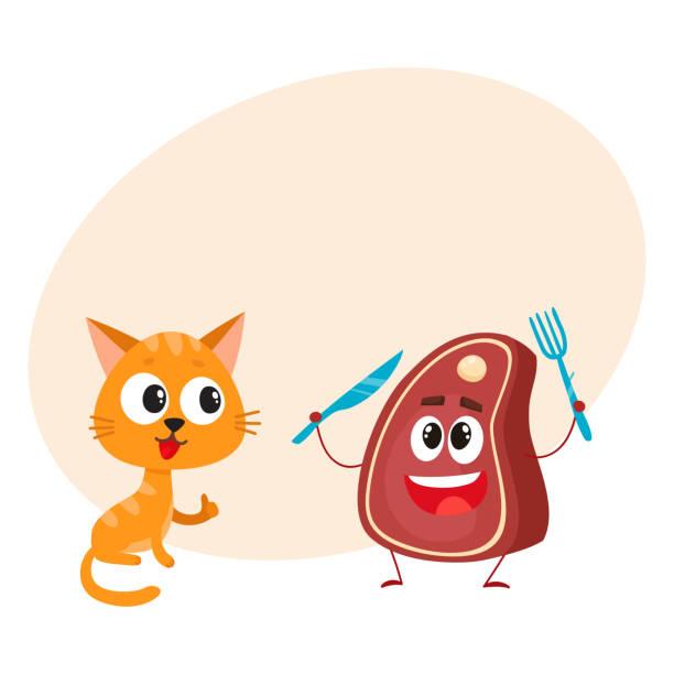 Funny Red Cat Kitten Character Steak Holding Fork And Knife Vector Art Illustration