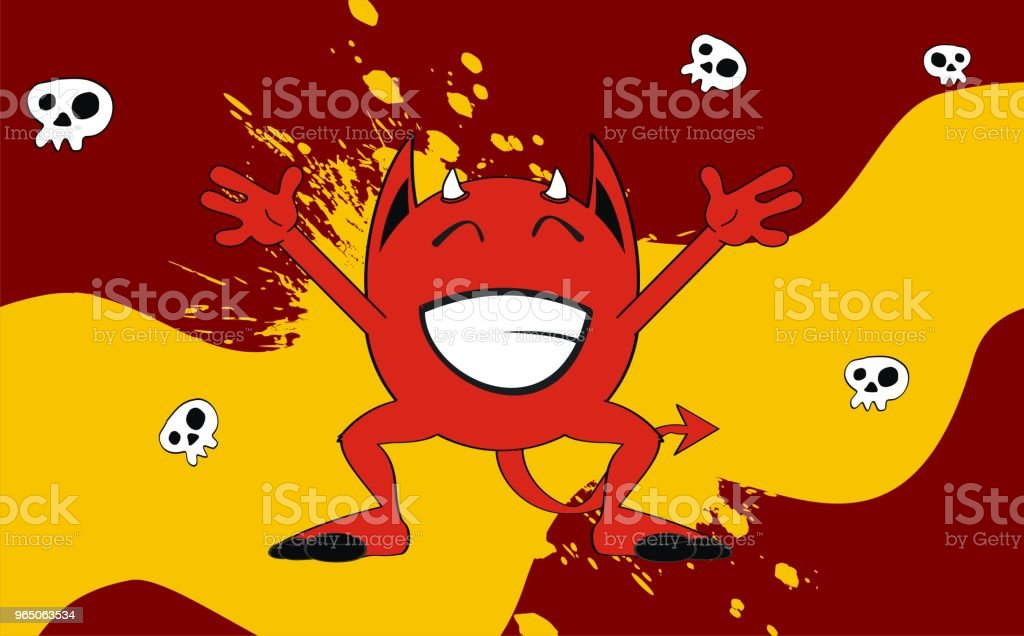 funny red demon cartoon expression background royalty-free funny red demon cartoon expression background stock vector art & more images of caricature