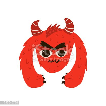 istock Funny red monster in cartoon style. Children's illustration with cute characters isolated on white background. Vector 1285545738