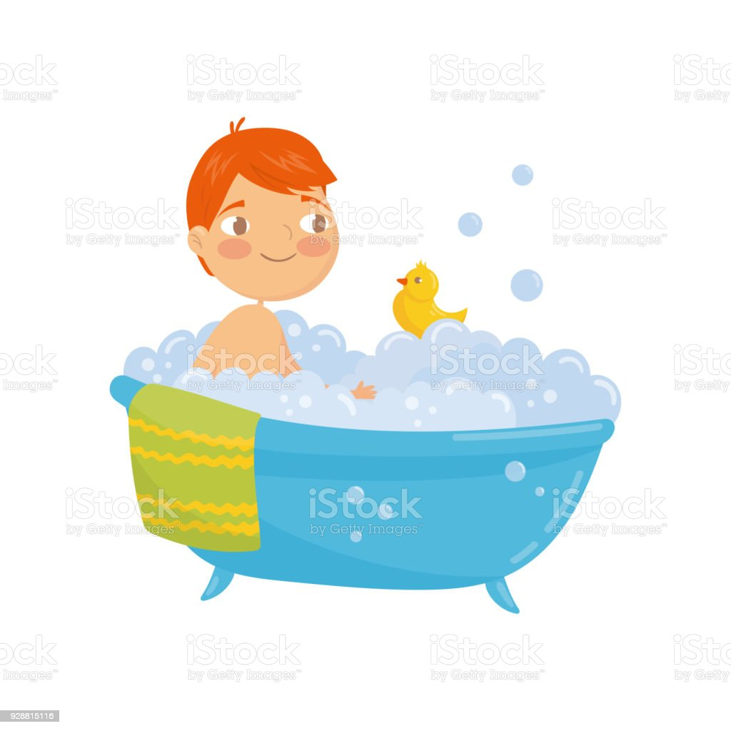 Funny Redhaired Boy Taking Bath With Rubber Duck Toy Bathtub With ...