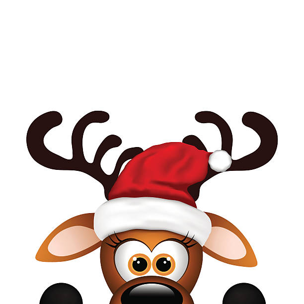funny reindeer on white background. christmas card - rentier stock-grafiken, -clipart, -cartoons und -symbole