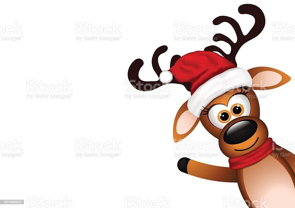 Funny Reindeer on white background. - Lizenzfrei Charakterkopf Vektorgrafik