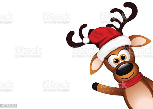 Funny Reindeer On White Background Stock Vektor Art und mehr Bilder von Charakterkopf