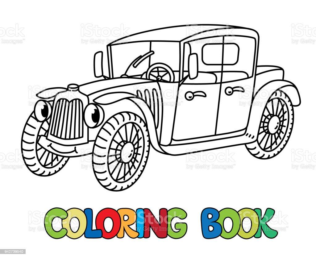 Komik Retro Araba Gozleri Olan Boyama Kitabi Stok Vektor Sanati