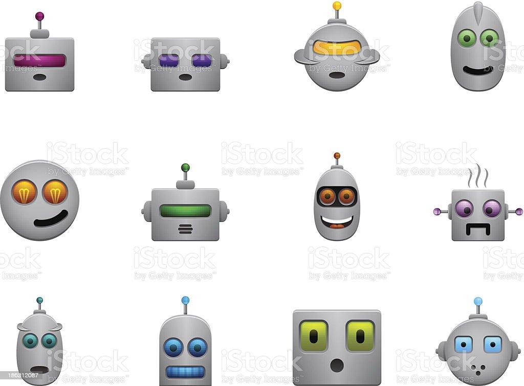 Witzige Retro Roboter Smilies Set Mit Farbe Gesichter Stock Vektor
