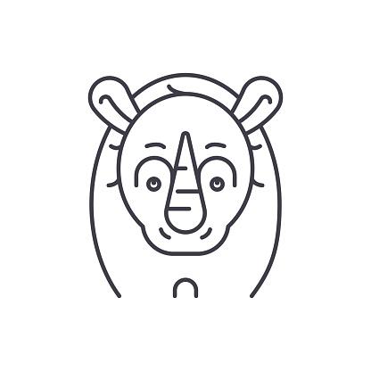 Funny rhino line icon concept. Funny rhino vector linear illustration, symbol, sign