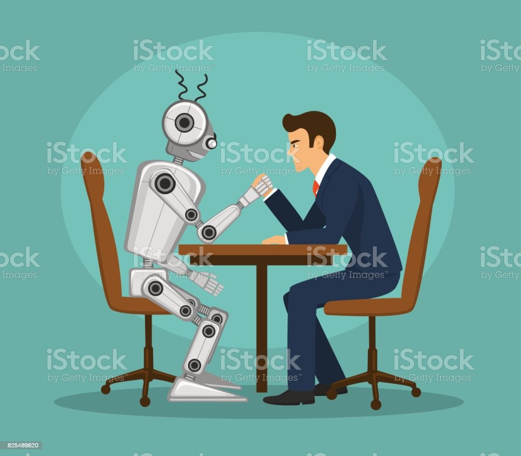 Funny robot and businessman arm wrestling, fighting . artificial intelligence vs human competition concept vector art illustration