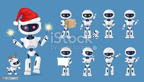 istock Funny Robot Set of Icons Vector Illustration 1181236822
