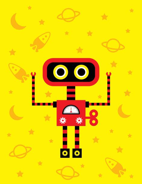 lustige Roboter Wallpaper Vektor – Vektorgrafik