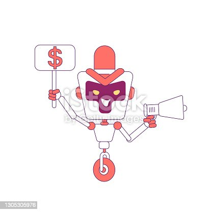 istock Funny robot with loudspeaker red linear object. Marketing advertisement campaign service bot thin line symbol. AI marketer cyborg isolated outline illustration on white background 1305305976