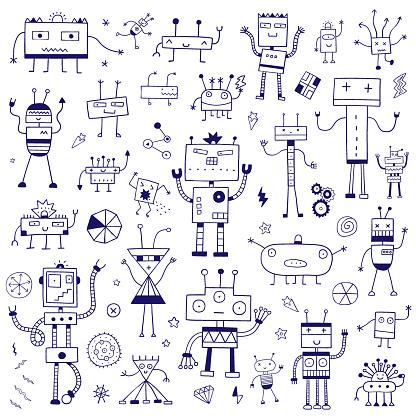 funny robots - hand drawn vector doodle set