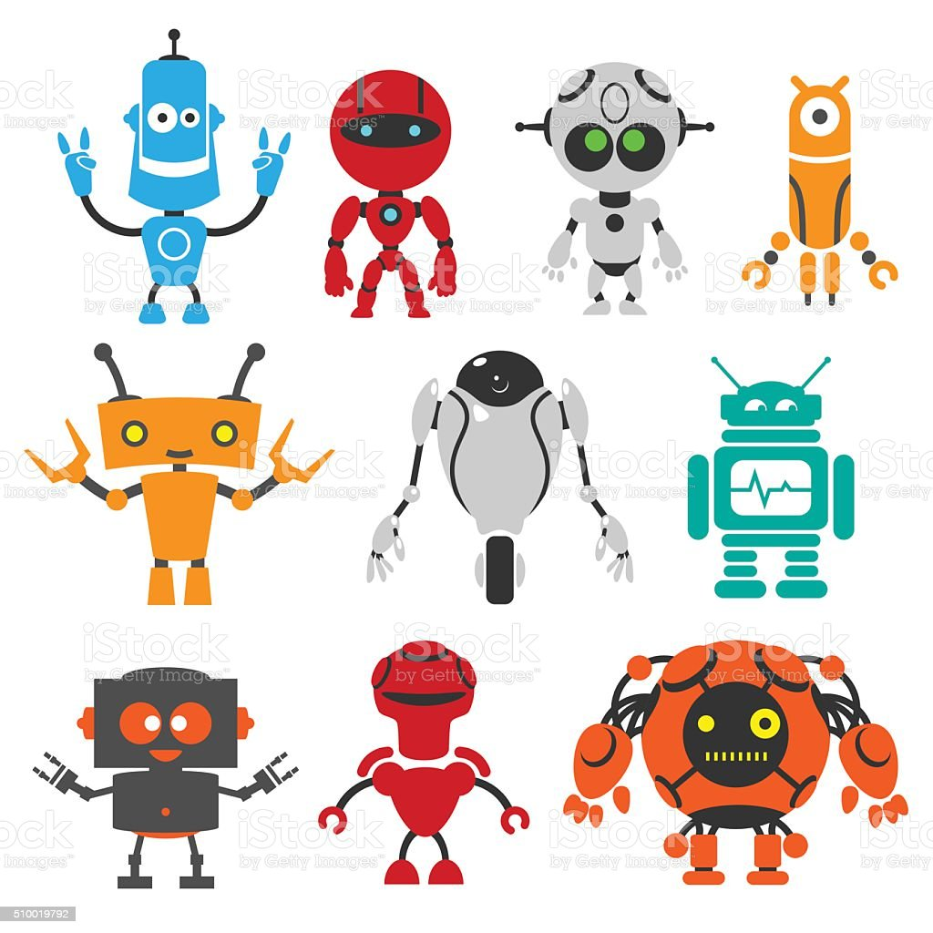 Funny robots vector art illustration