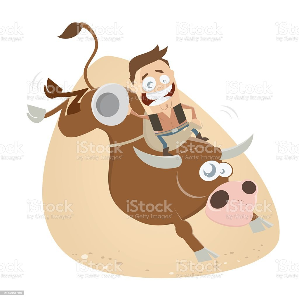 funny rodeo riding cowboy vector art illustration