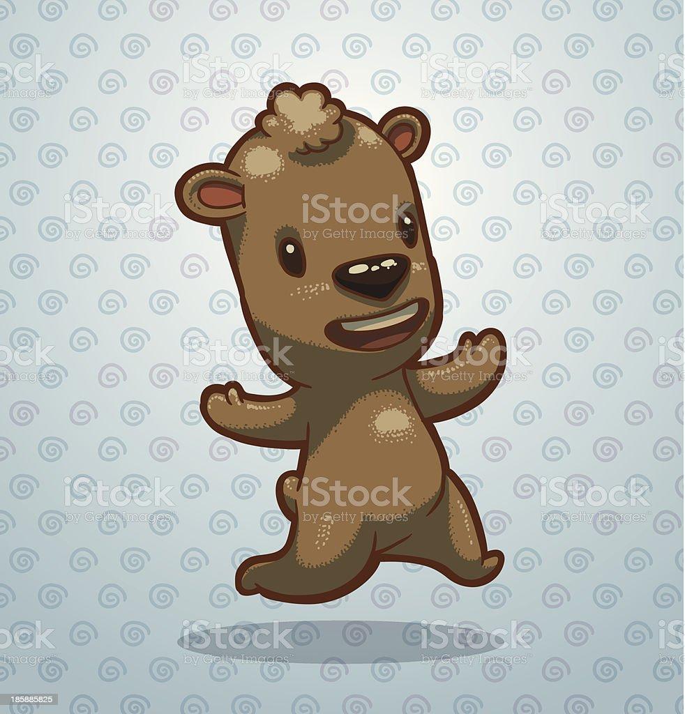 Funny running bear cub royalty-free stock vector art