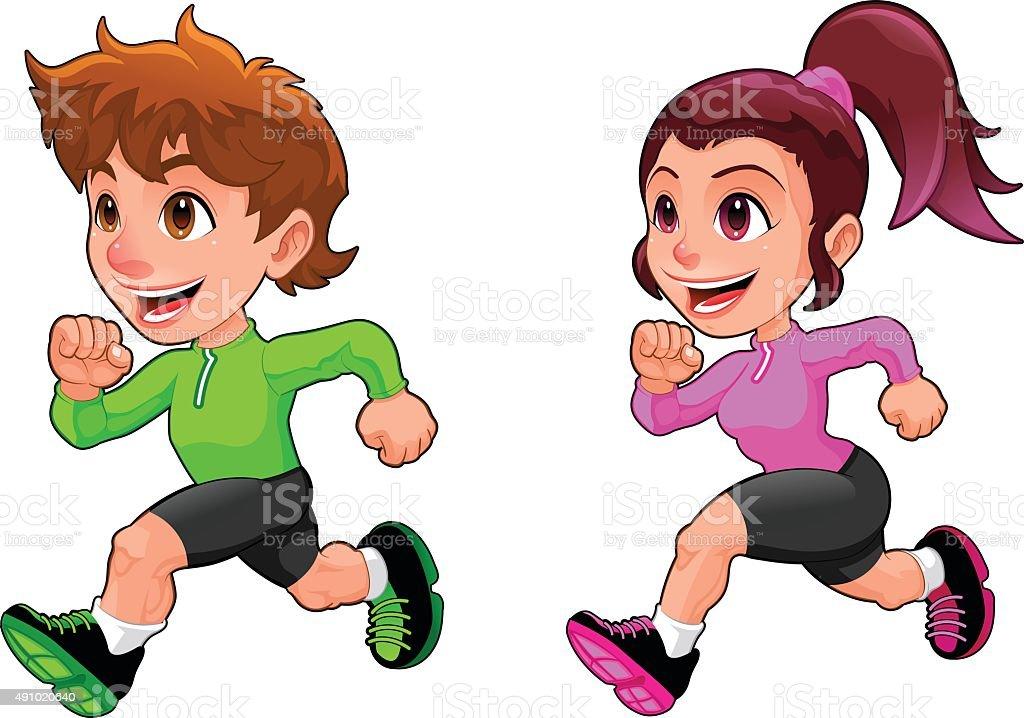 Ilustración De Divertido Niño Y Niña Corriendo Y Más
