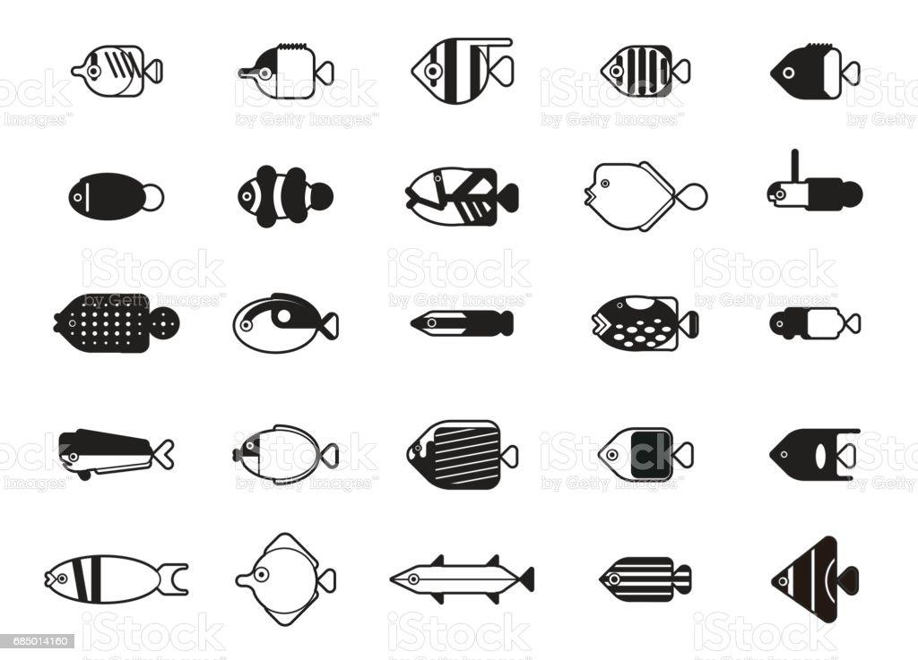 Funny Saltwater Fish Icons Cartoon Vector Illustration Monochrome