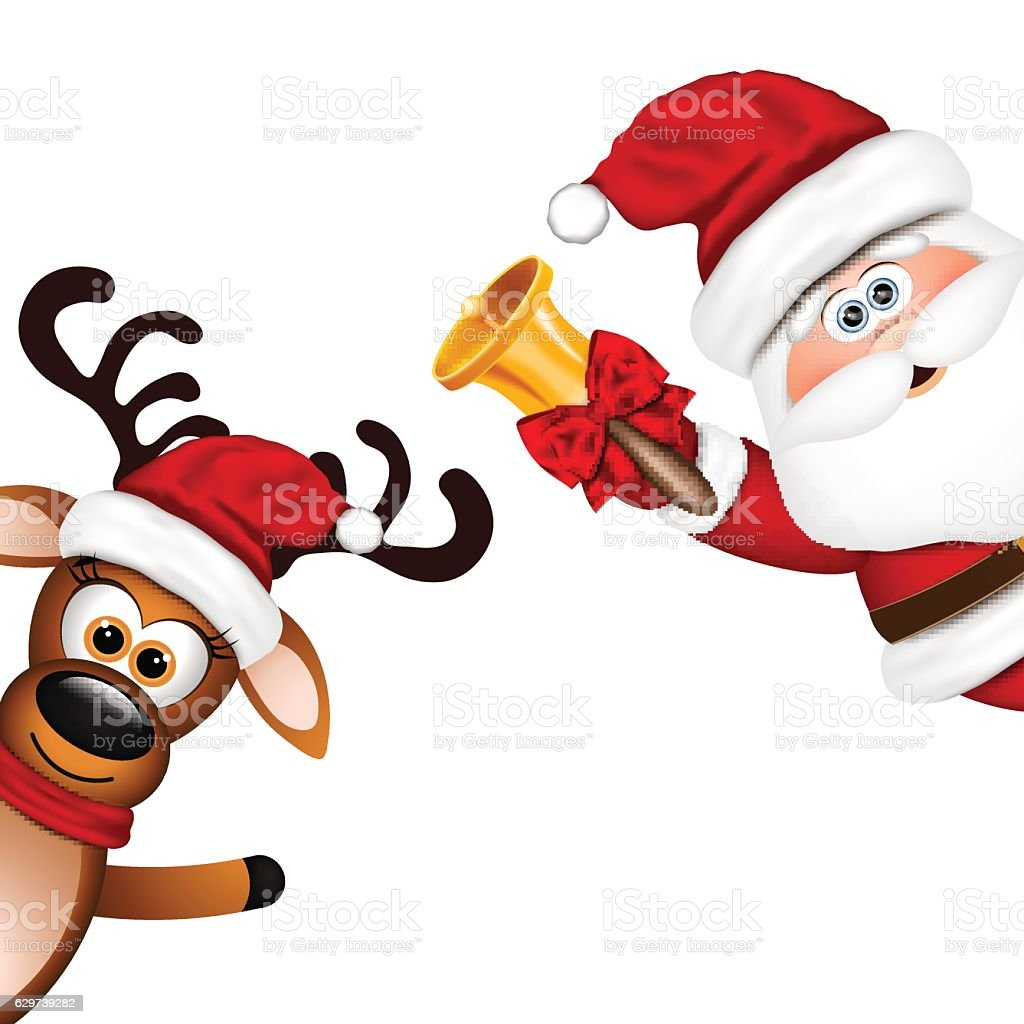 Sfondi Babbo Natale.Divertente Babbo Natale E Renne Su Sfondo Bianco Immagini Vettoriali Stock E Altre Immagini Di Adulto Istock