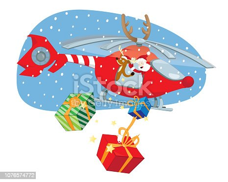 a vector cartoon representing a funny Santa Claus and a reindeer helper flying in a decorated helicopter and delivering presents on Christmas day, Fast shipping and modernity concept