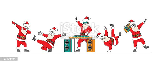 Funny Santa Claus Dancing. Funny Christmas Characters Making Dab Move, Dance Break and Hip Hop Style Dance, Young Teenage Culture, Holiday Greeting, DJ Club Party. Linear People Vector Illustration