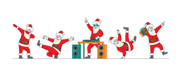 Funny Santa Claus Dancing. Funny Christmas Characters Making Dab Move, Dance Break and Hip Hop Style Dance DJ Club Party Funny Santa Claus Dancing. Funny Christmas Characters Making Dab Move, Dance Break and Hip Hop Style Dance, Young Teenage Culture, Holiday Greeting, DJ Club Party. Linear People Vector Illustration human limb stock illustrations