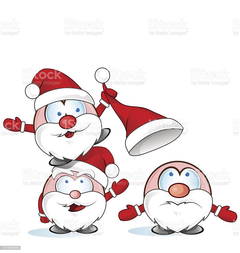 Lustige Weihnachtsmann Gruppe Comic Stock Vektor Art Und