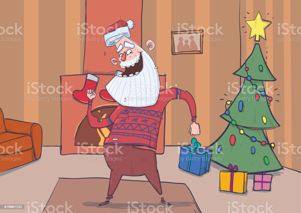 Funny Santa Claus In Deer Sweater Smiling And Dancing In Decorated ...