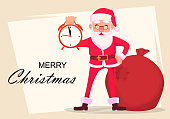 Christmas greeting card. Funny Santa Claus in glasses, cheerful cartoon character holds alarm clock. Vector illustration