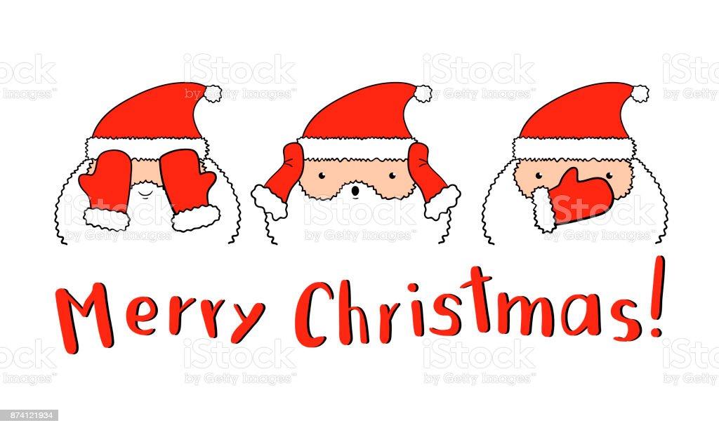 Lustige Weihnachtsmann In Vektor Drei Santa Handschuhe Augen Ohren ...