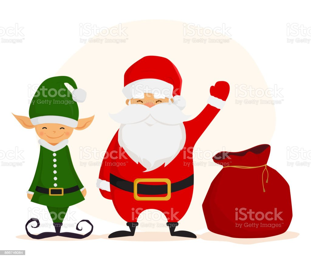 Funny Santa Claus With A Gift Bag And Christmas Elf Stock Vector Art ...
