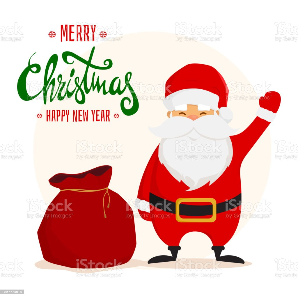 Funny Santa Claus with a gift bag. Merry Christmas and Happy New Year design. vector art illustration