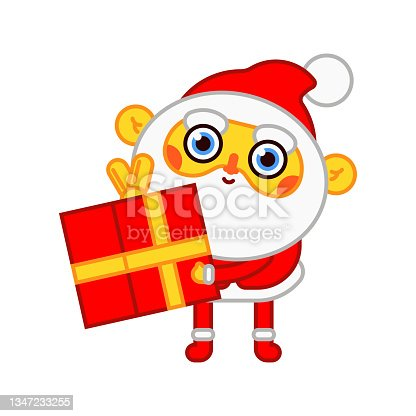 istock Funny Santa Claus with gift box vector cartoon character isolated on a white background. 1347233255