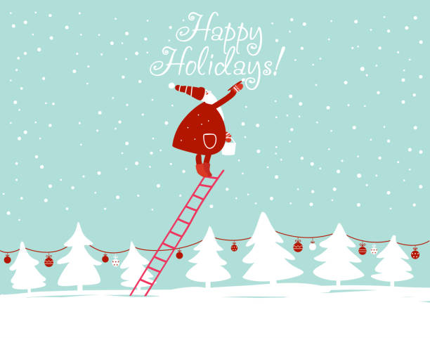 "ilustrações de stock, clip art, desenhos animados e ícones de funny santa claus writing ""happy holidays"" with painting brush on the sky - christmas card"
