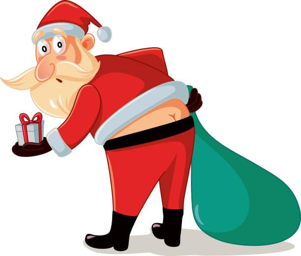 bildbanksillustrationer, clip art samt tecknat material och ikoner med rolig santa i pinsamma ögonblick med jul gåvor tecknad - bum