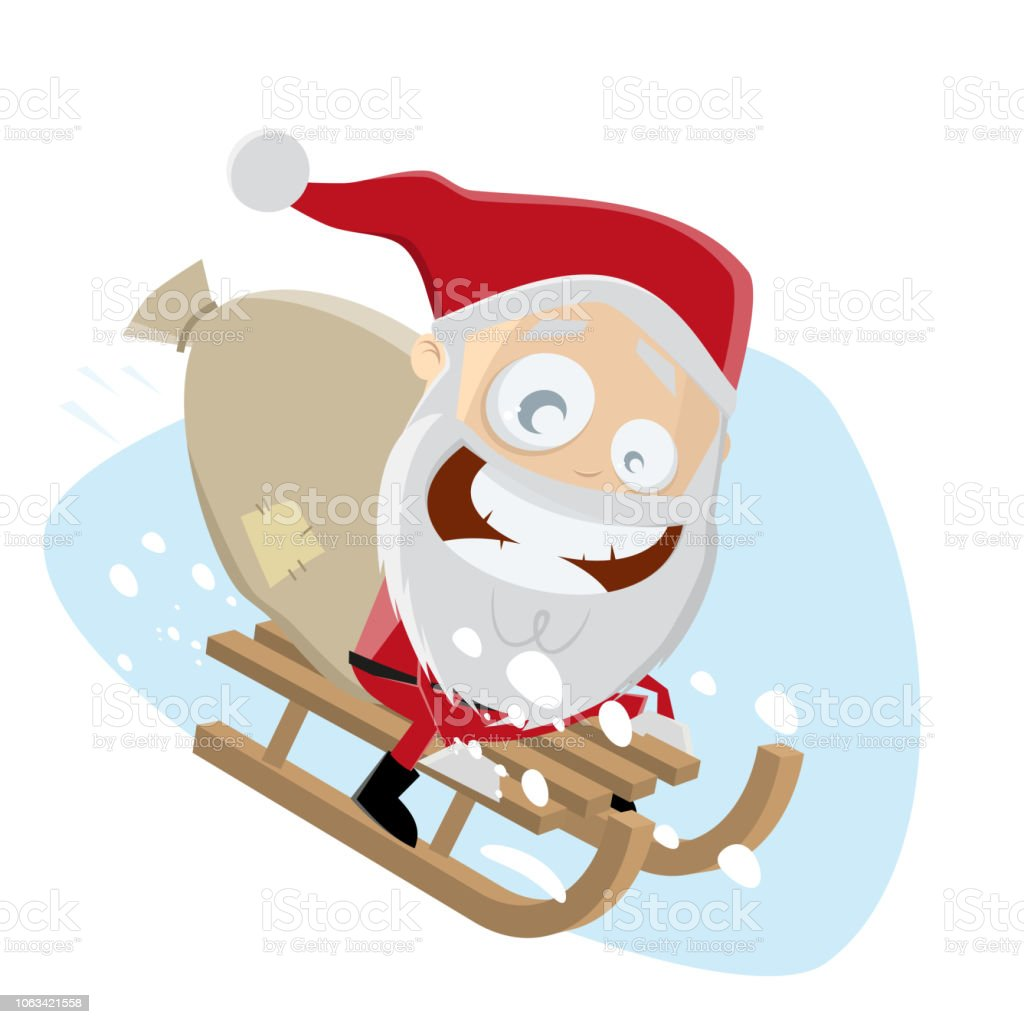 funny santa riding on sled vector art illustration