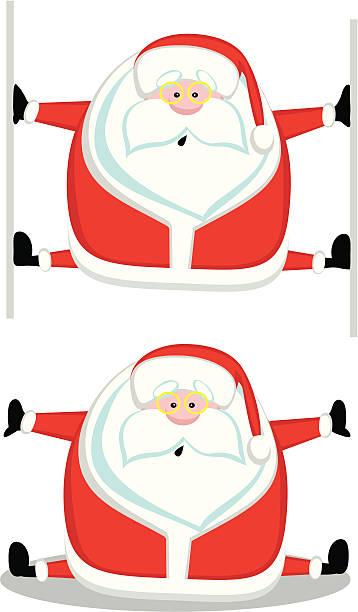 lustige santa - spagat stock-grafiken, -clipart, -cartoons und -symbole