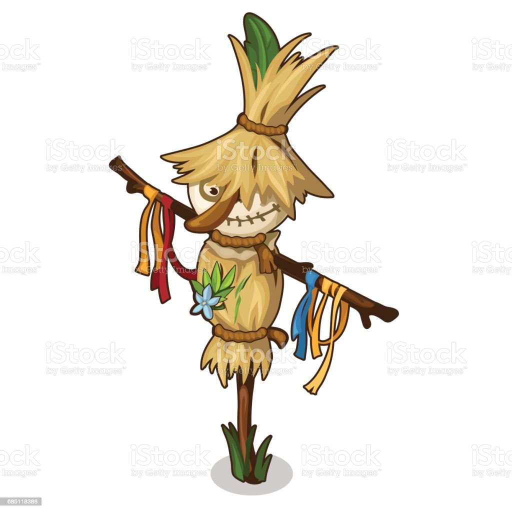 Funny Scarecrow in a straw hat in cartoon style royalty-free funny scarecrow in a straw hat in cartoon style stock vector art & more images of agriculture