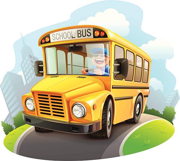 ilustrações, clipart, desenhos animados e ícones de engraçado ônibus escolar ilustração - ônibus escolares