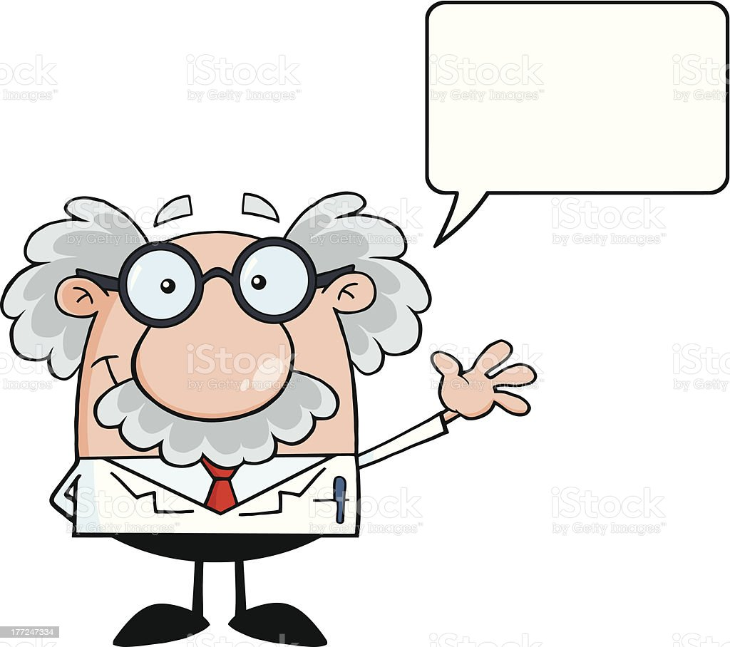 Funny Scientist Smiling And Waving For Greeting With Speech Bubble royalty-free stock vector art