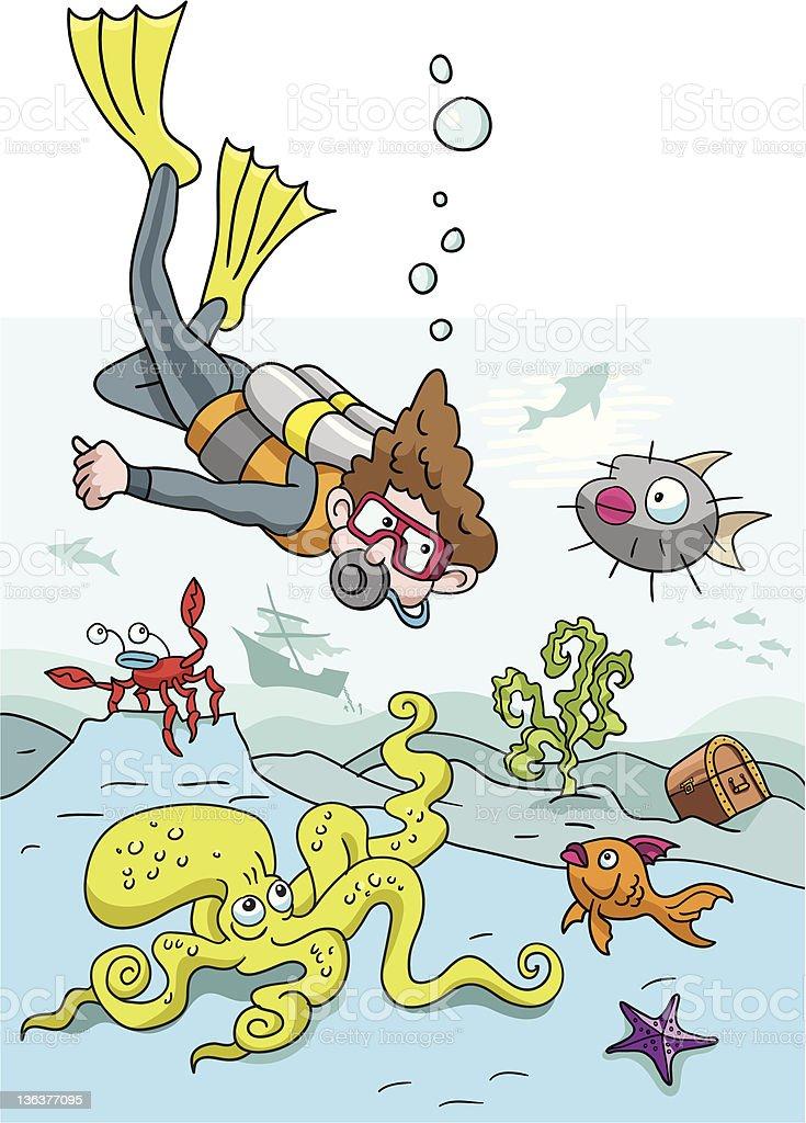 funny scuba diver meets sea creatures stock vector art more images