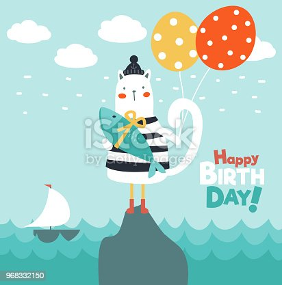 Funny sea gull with fish and balloons