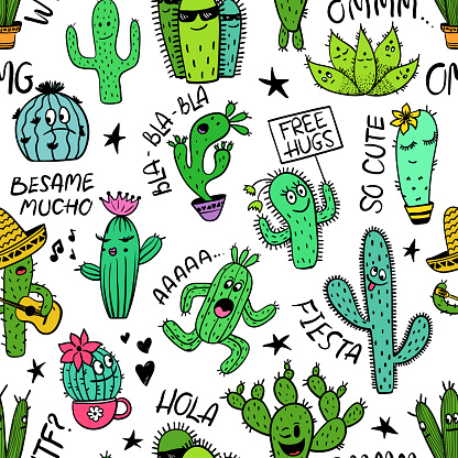 Funny Seamless Pattern Of Cactus Characters.
