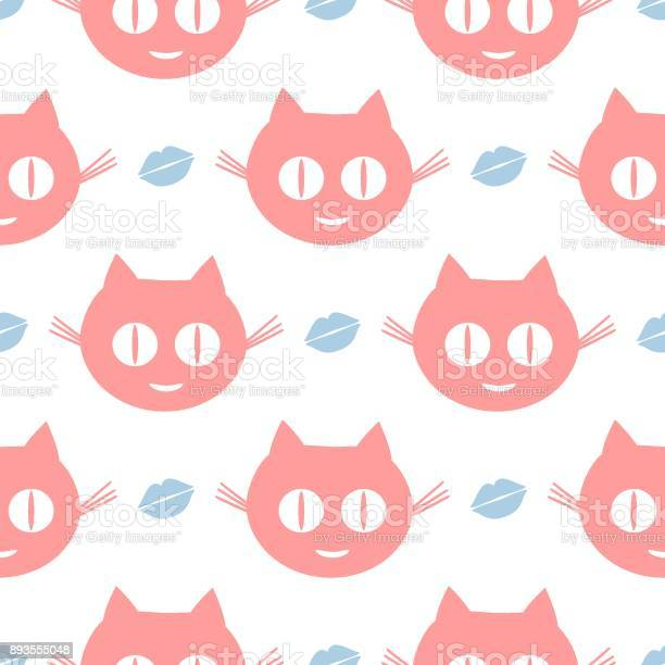 Funny seamless pattern repeated smiling cats heads and human lips vector id893555048?b=1&k=6&m=893555048&s=612x612&h= dwdwgcj0 fqmbxus1gkrjgly7grkehysiulsy6o3du=