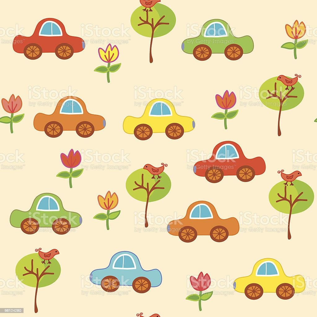 Funny seamless pattern with cars outdoor in childish style royalty-free funny seamless pattern with cars outdoor in childish style stock vector art & more images of backgrounds