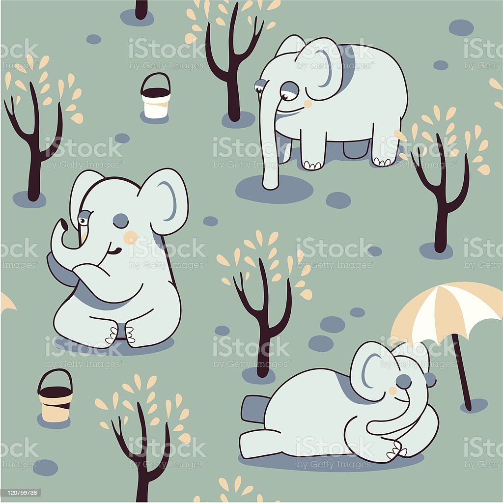 funny seamless pattern with playful elephants royalty-free stock vector art