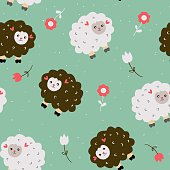 Funny seamless pattern with sheeps and flowers - vector illustration
