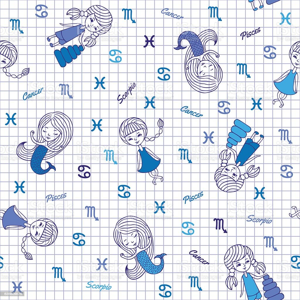 Funny Seamless Pattern With Zodiac Signs Stock Illustration