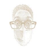 Funny selfie of man wearing face mask